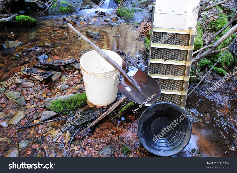 basic tools used placer gold prospecting stock photo 28866376