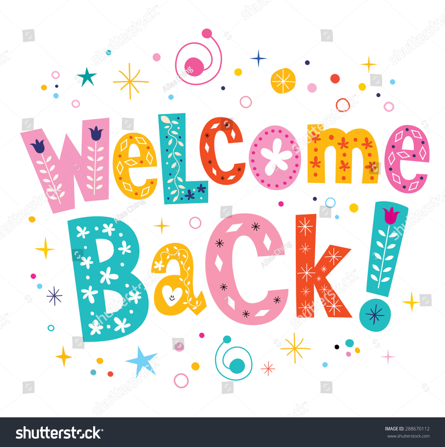 Welcome Back Decorative Lettering Text Stock Vector