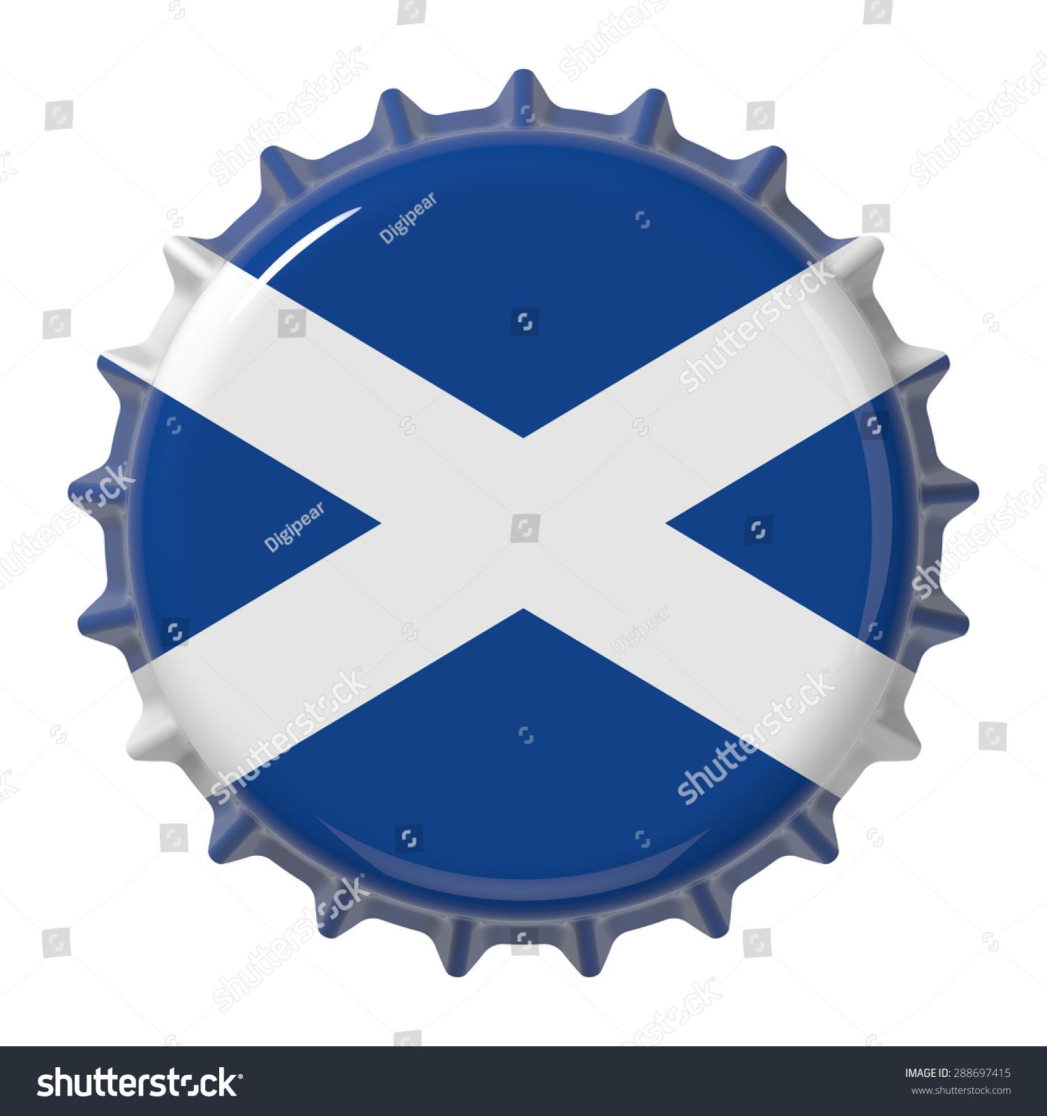 scottish flag on bottle cap 3d stock illustration 288697415