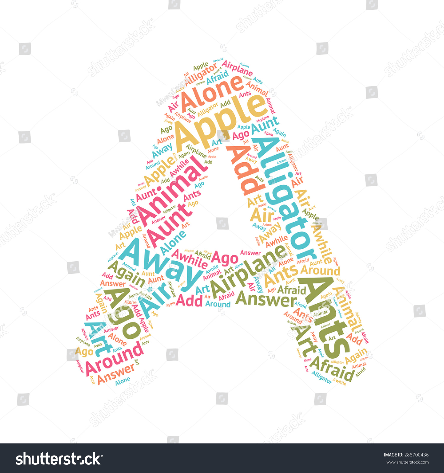 Cute Word Cloud Abc Letters Series Stock Vector Royalty Free