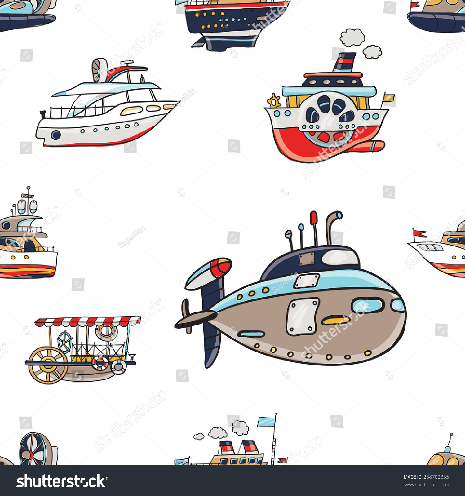 Water Funny Pictures Stock Vector Funny Cute Hand Drawn Kids Toy