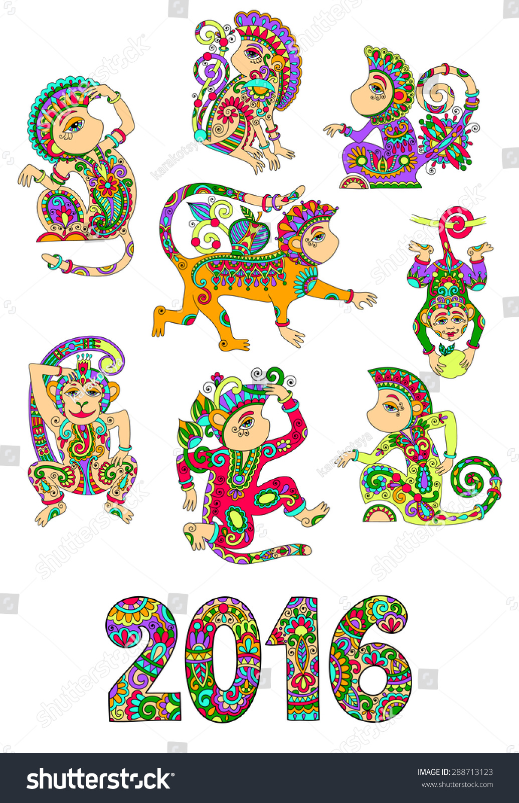 Set different colors decorative monkey chinese stock illustration set of different colors decorative monkey chinese symbol 2016 lunar new years and inscription for buycottarizona Gallery