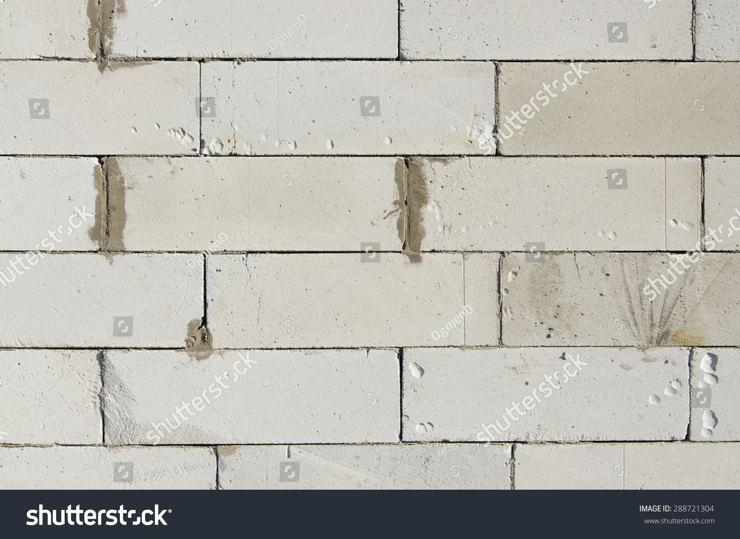 Wall Built Aerated Concrete Ytong Blocks Stock Photo