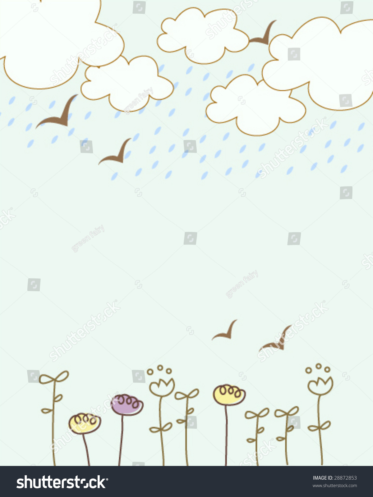 Book Cover Cute ~ Cute little floral on rainy days stock vector
