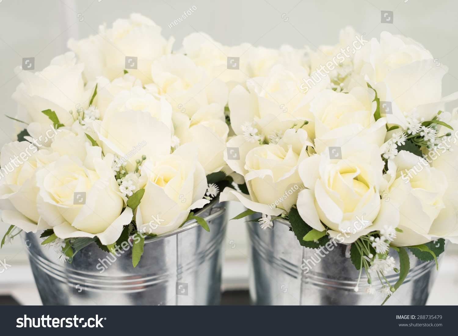 White Rose Fake Flowers Pots Stock Photo Edit Now 288735479
