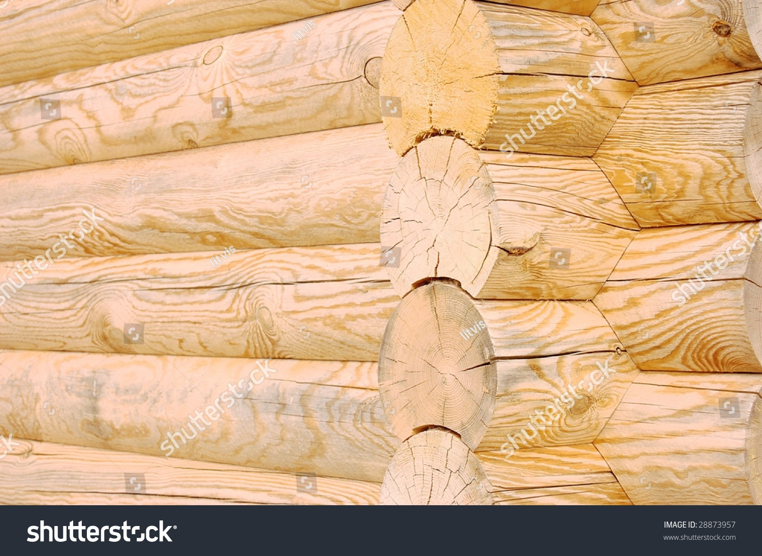 Texture Wall Made Wooden Logs Stock Photo (Edit Now) 28873957 ...