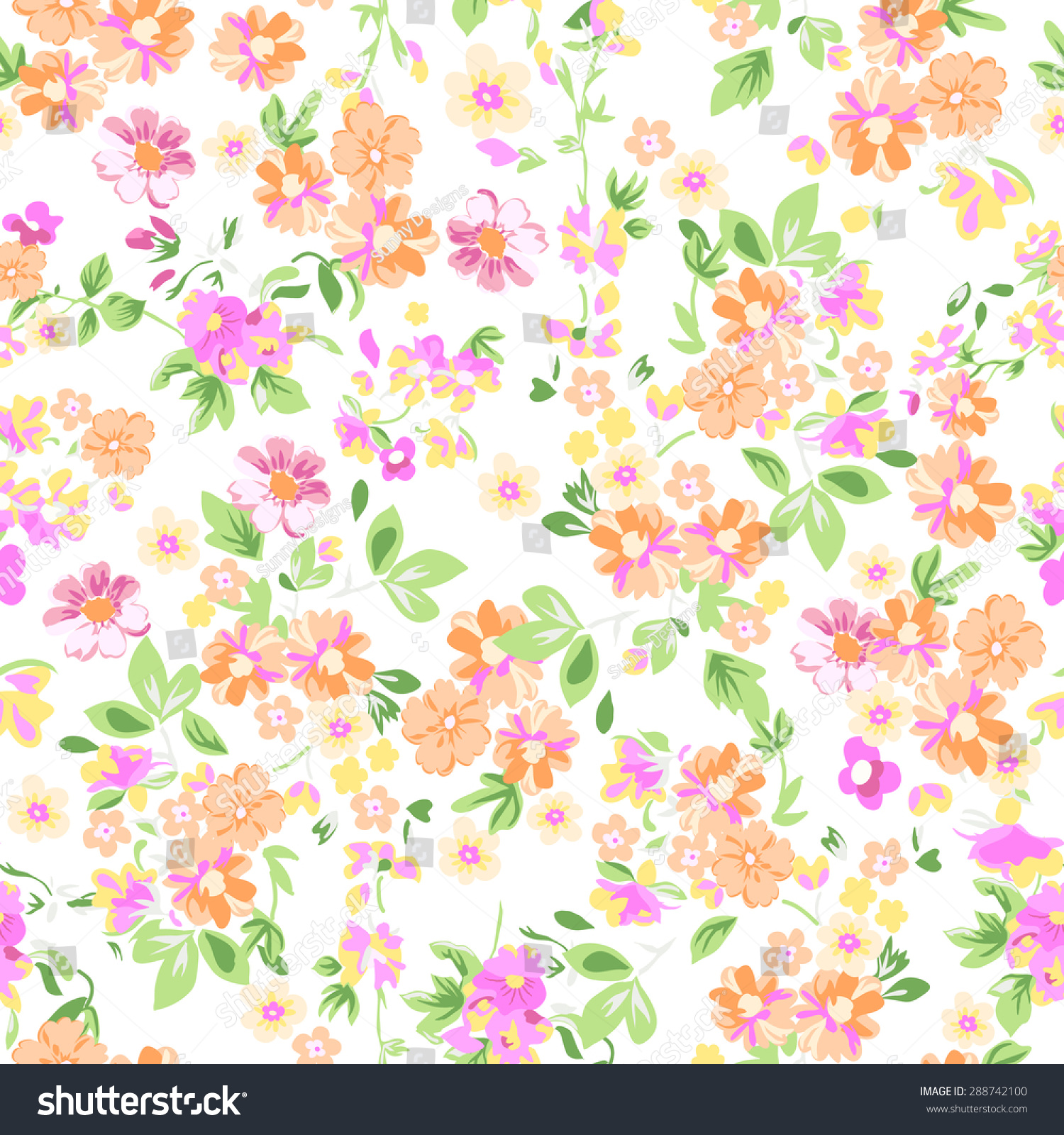sunny pastel floral print seamless background stock