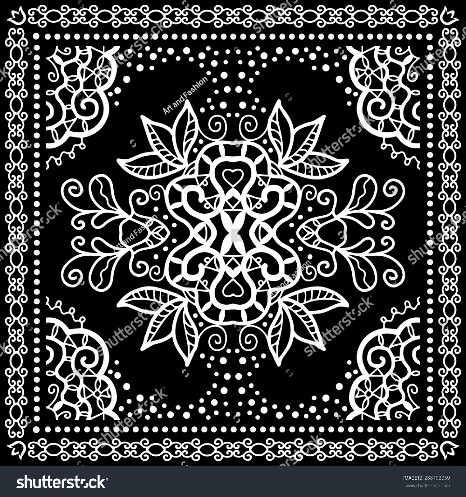 black bandana print silk neck scarf or kerchief square