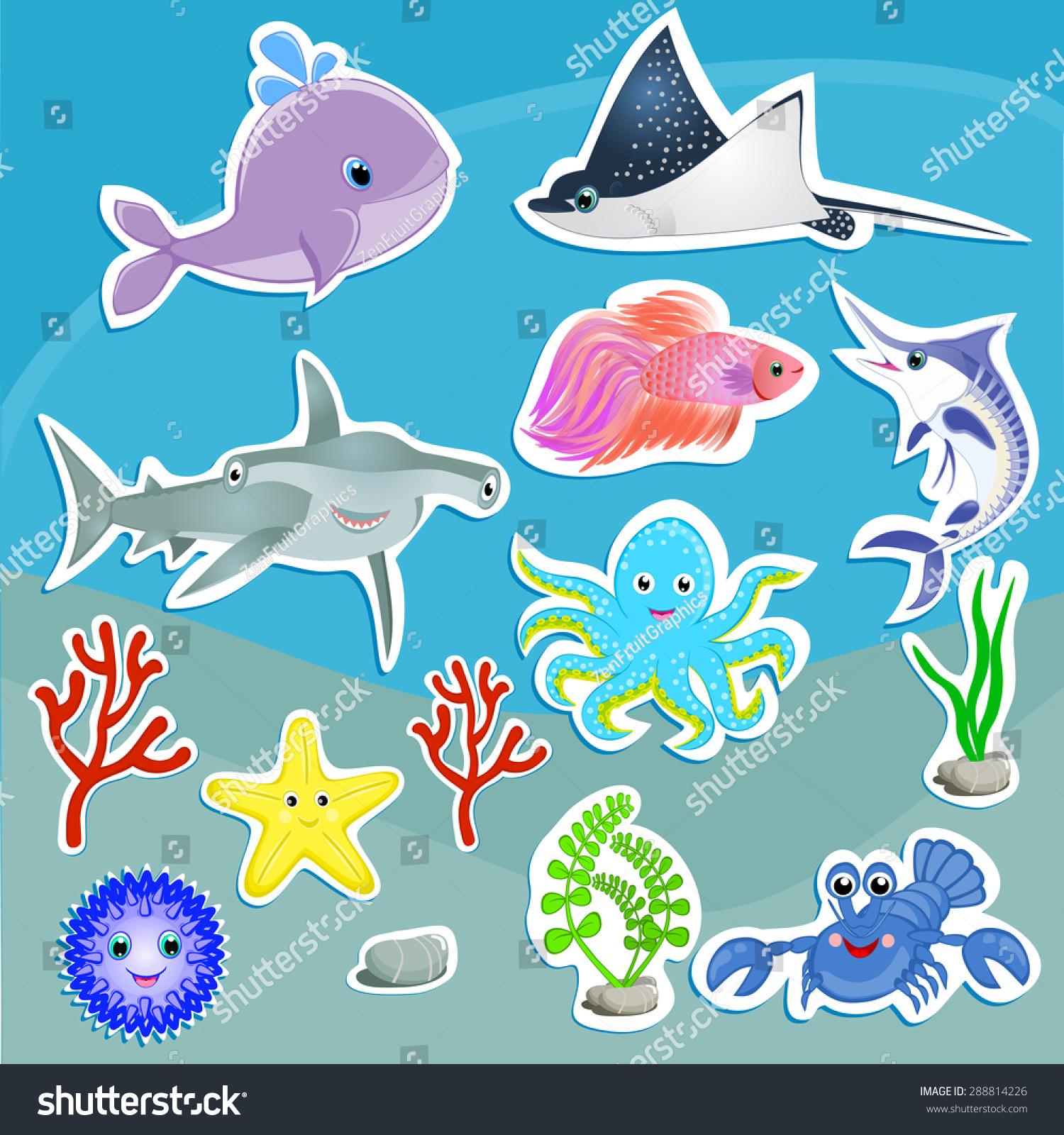Under Sea Animals Vector Graphic Cute Stock Vector 288814226 ...