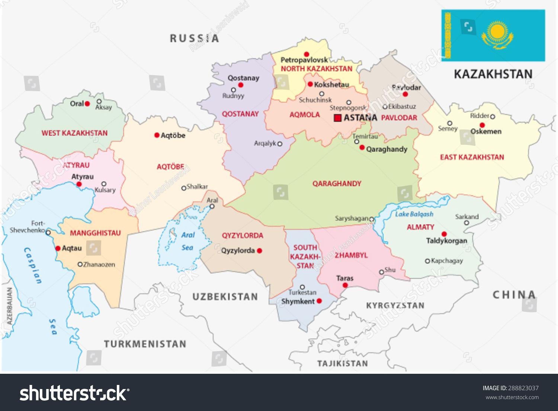 Kazakhstan Administrative Map Flag Stock Vector 288823037