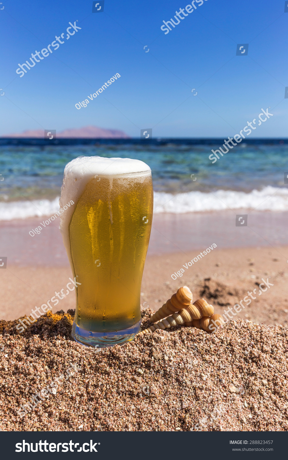 Cold Beer Sand Sparkling Sea Background Stock Photo (Edit
