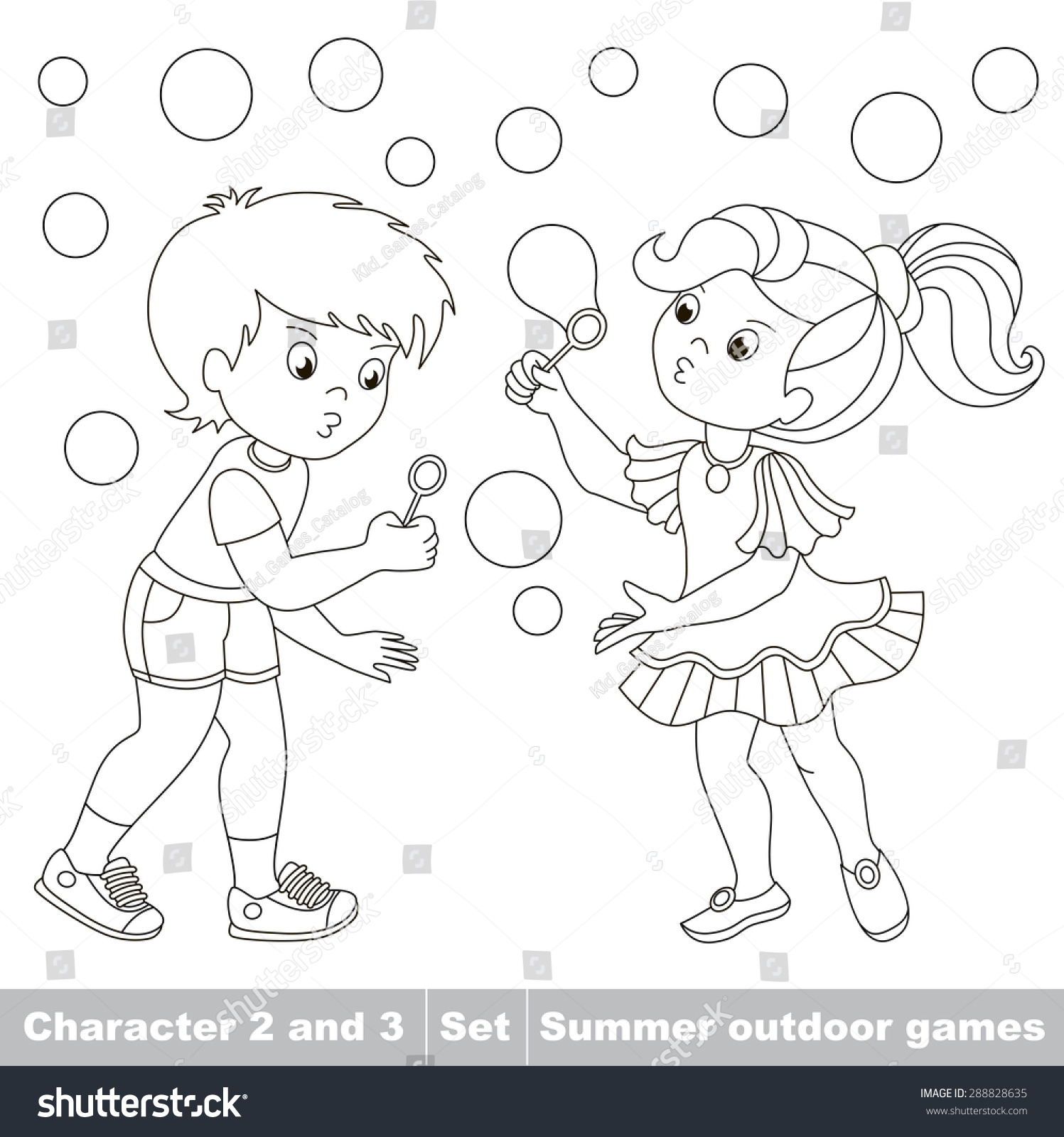 Page to be color boy and girl playing with soap bubbles cartoon playing baby