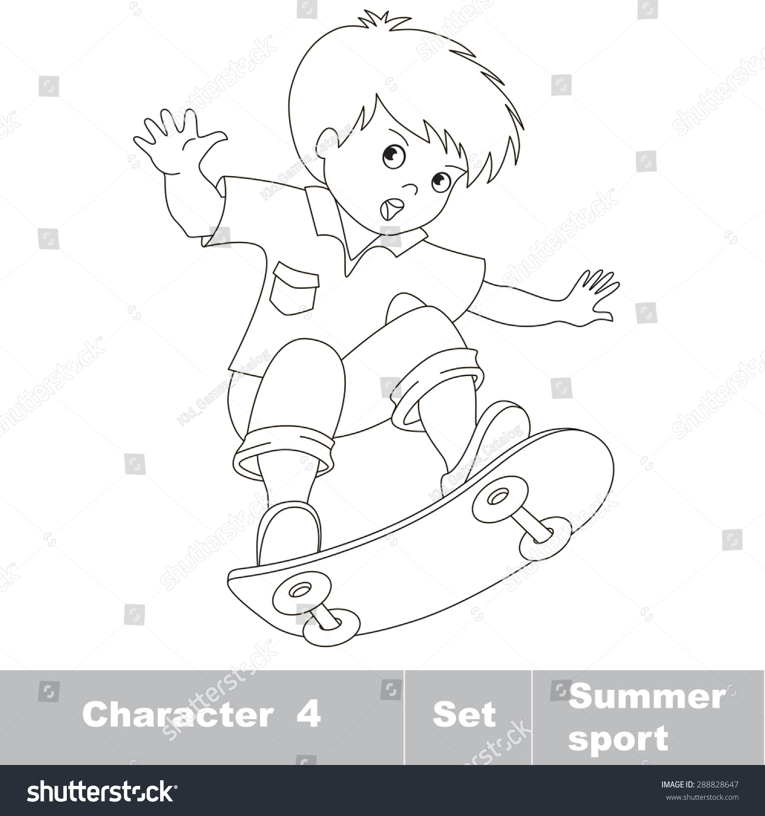 Page Be Color Skateboarding One Baby Stock Vector