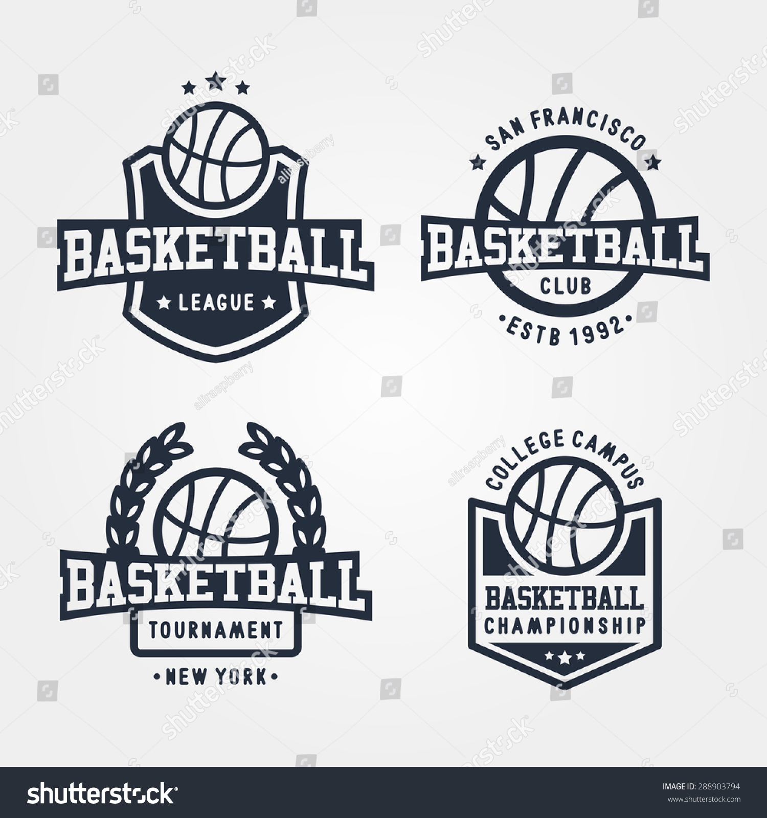 collection sport basketball badge logo templates stock vector 288903794 shutterstock. Black Bedroom Furniture Sets. Home Design Ideas