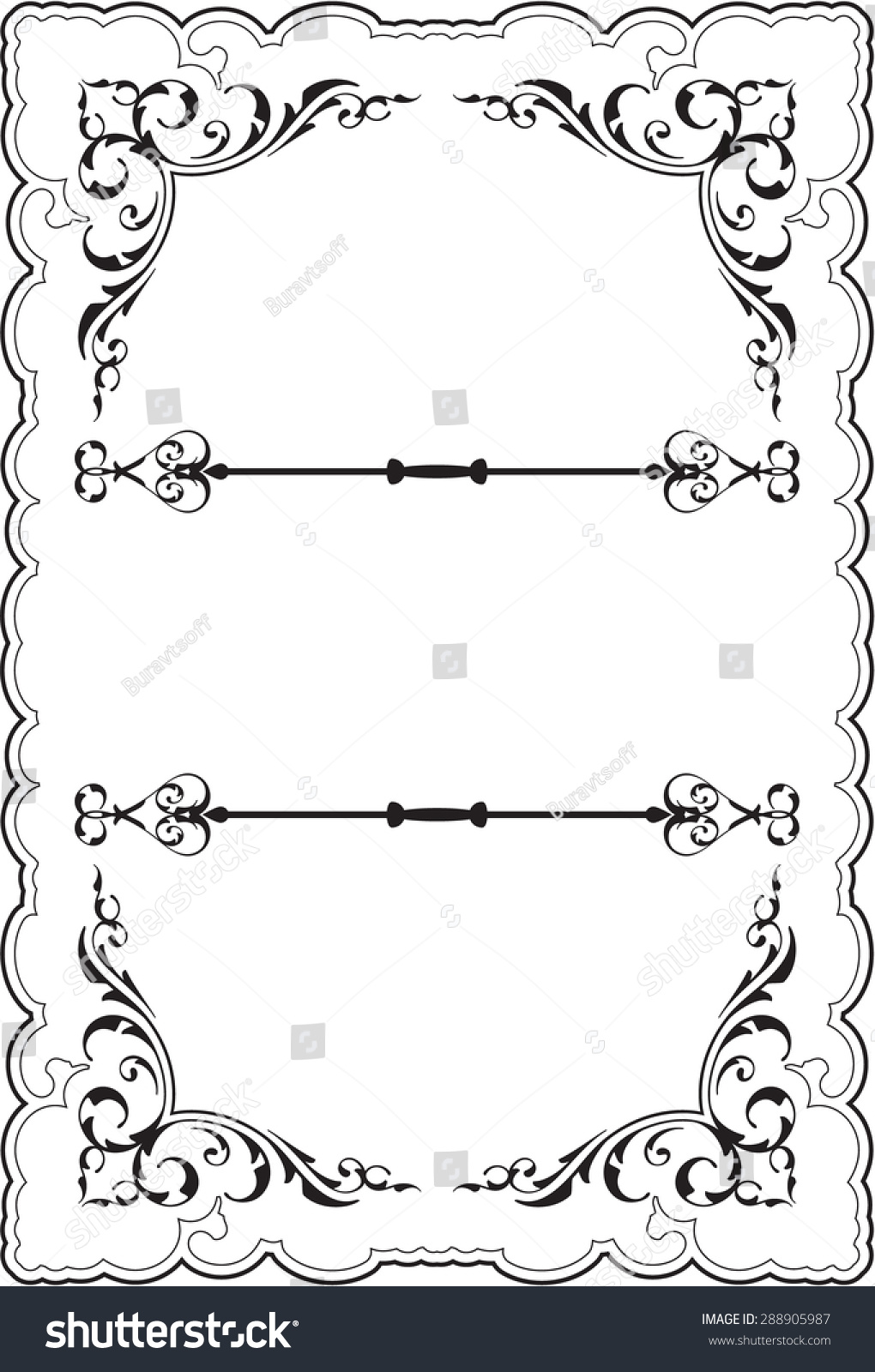 Scrolling ornate perfect frame on white | EZ Canvas