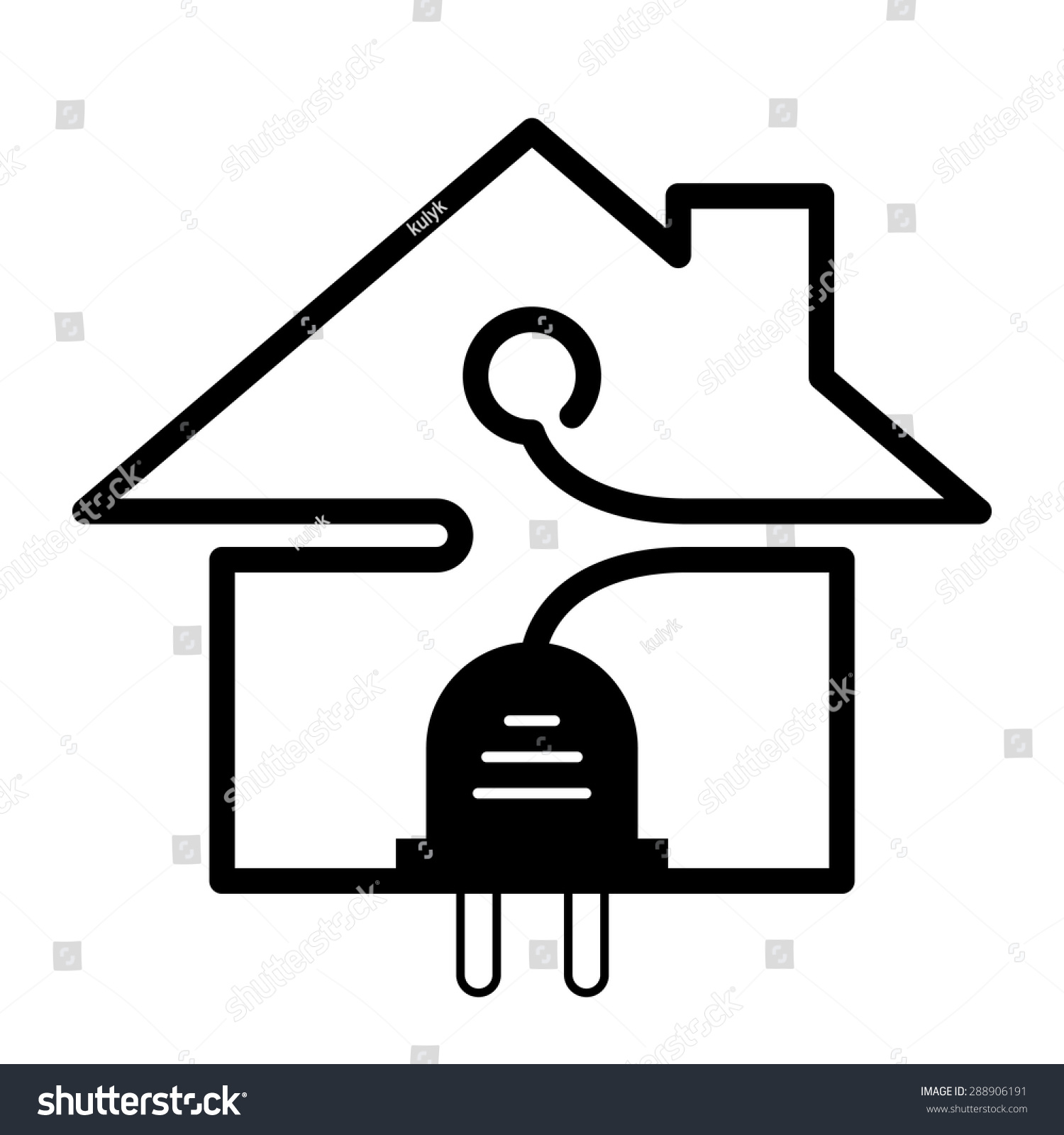 Plug wire shape house symbol realty stock vector 288906191 for House music symbol