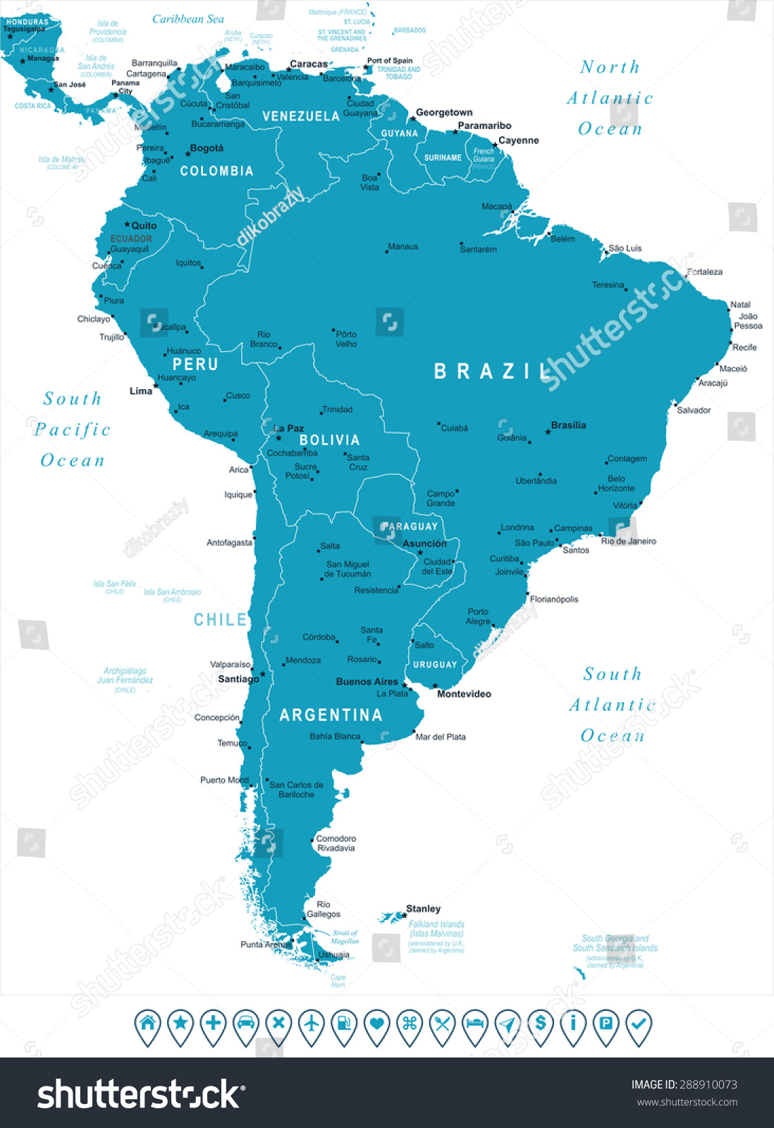 Vector Map Of South America Political Best South America Ideas