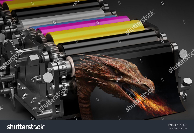 printing machine dragon print stock illustration 288923063