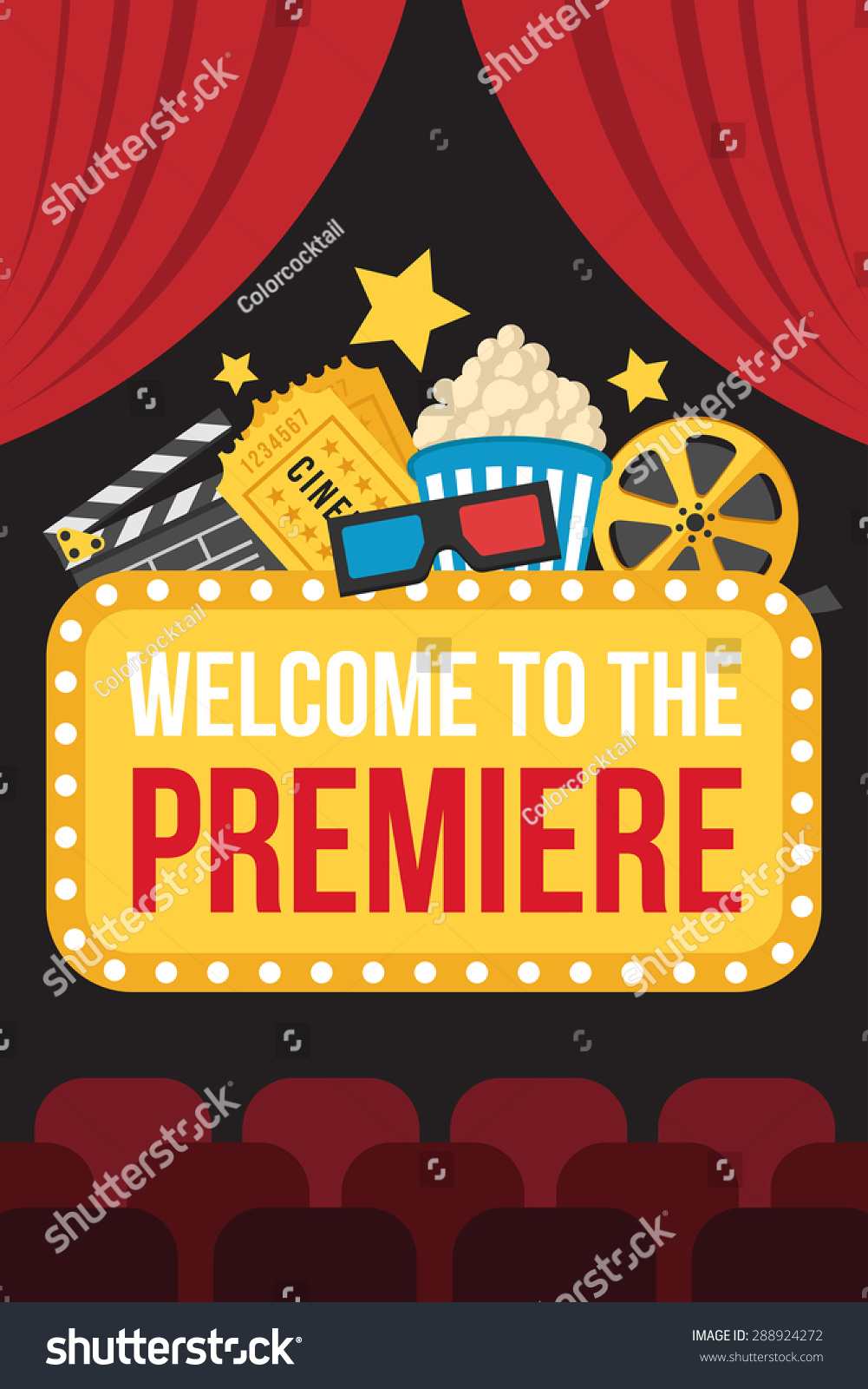 colorful vector poster movie premiere cinema stock vector