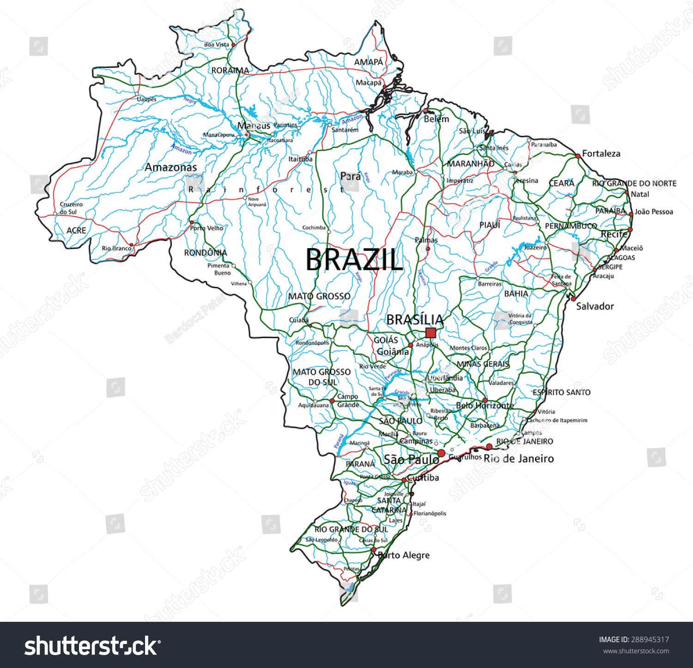 Brazil Road Highway Map Vector Illustration Stock Vector 288945317