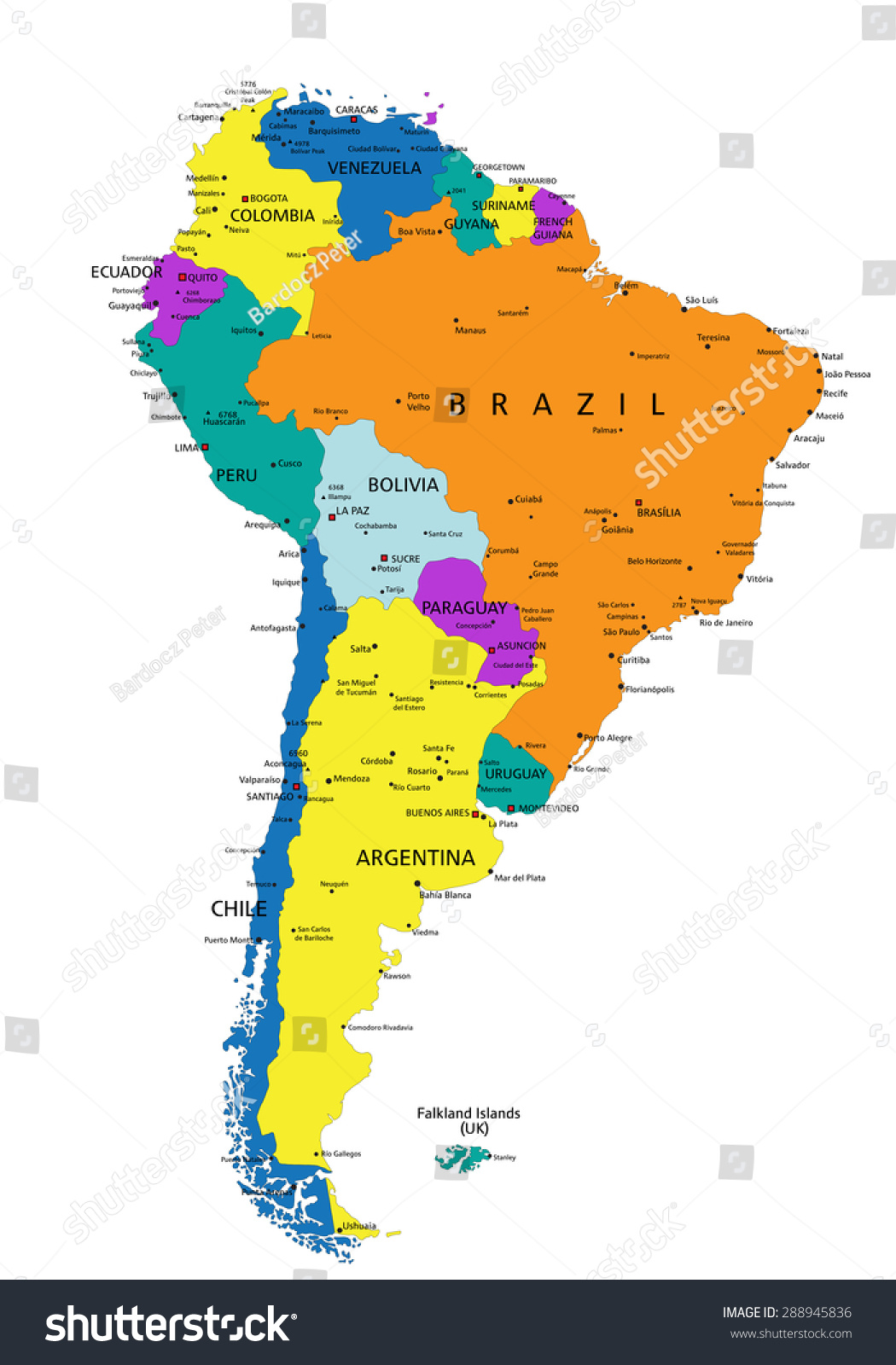 Colorful South America Political Map Clearly Stock Vector - South america map labeled