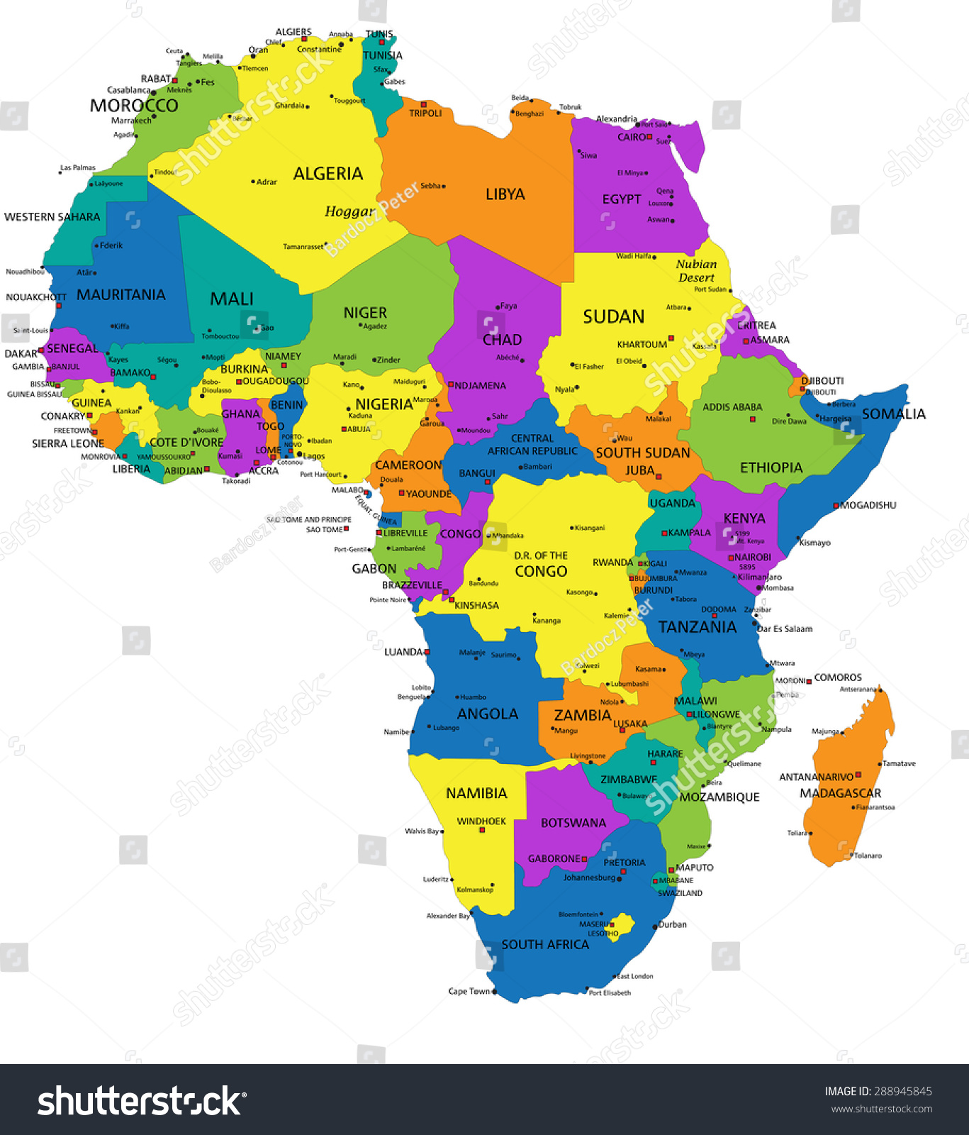 Colorful Physical Map Of Africa 111