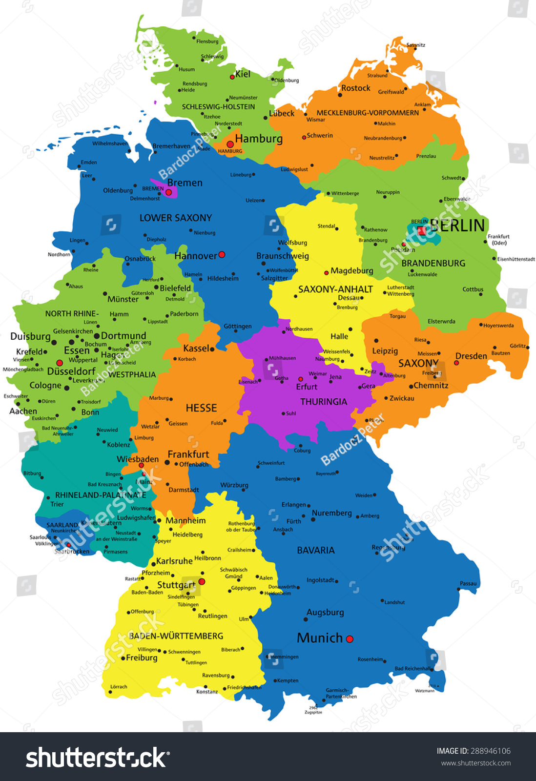 Colorful germany political map clearly labeled stock vector hd colorful germany political map with clearly labeled separated layers vector illustration gumiabroncs Gallery