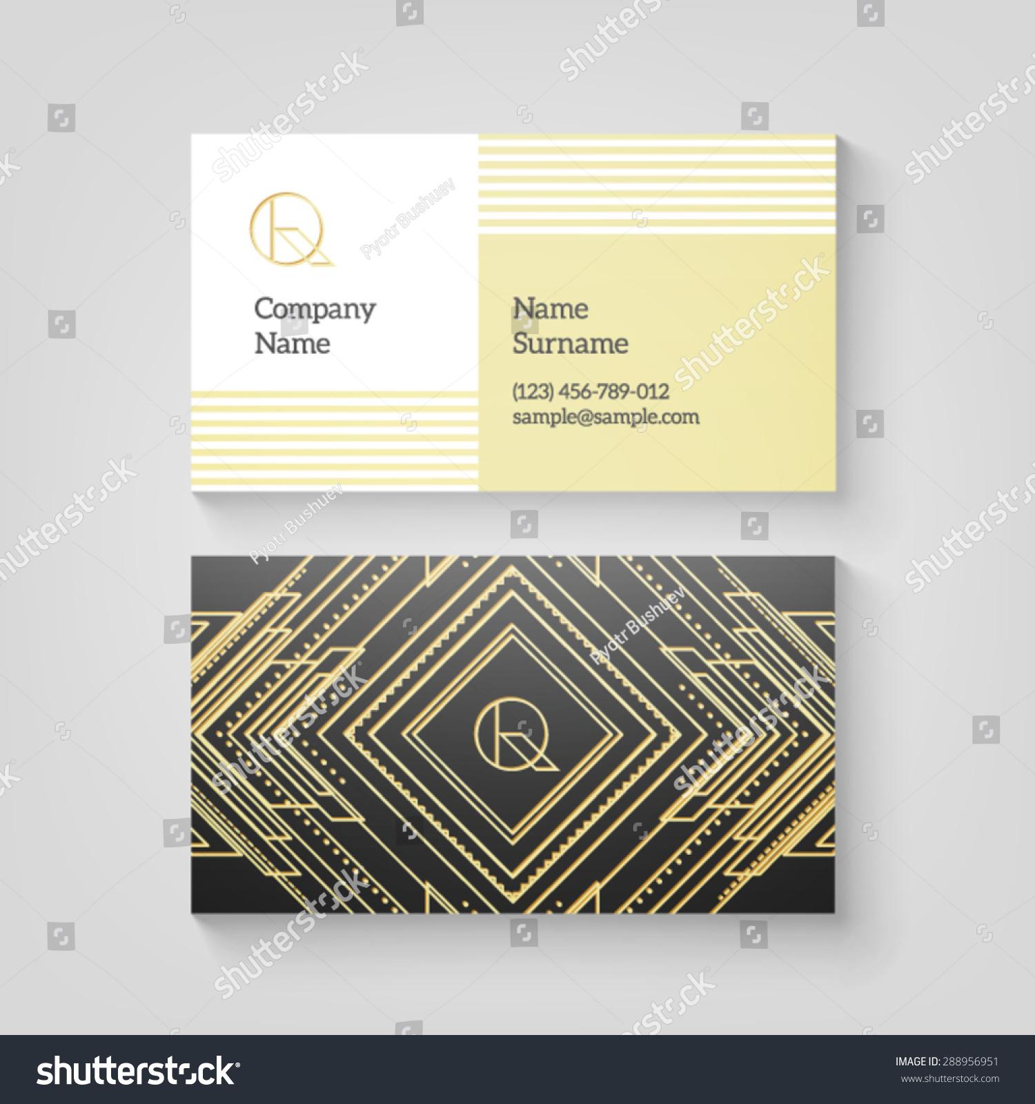 Vector Art Deco Business Card Template Stock Vector 288956951 ...