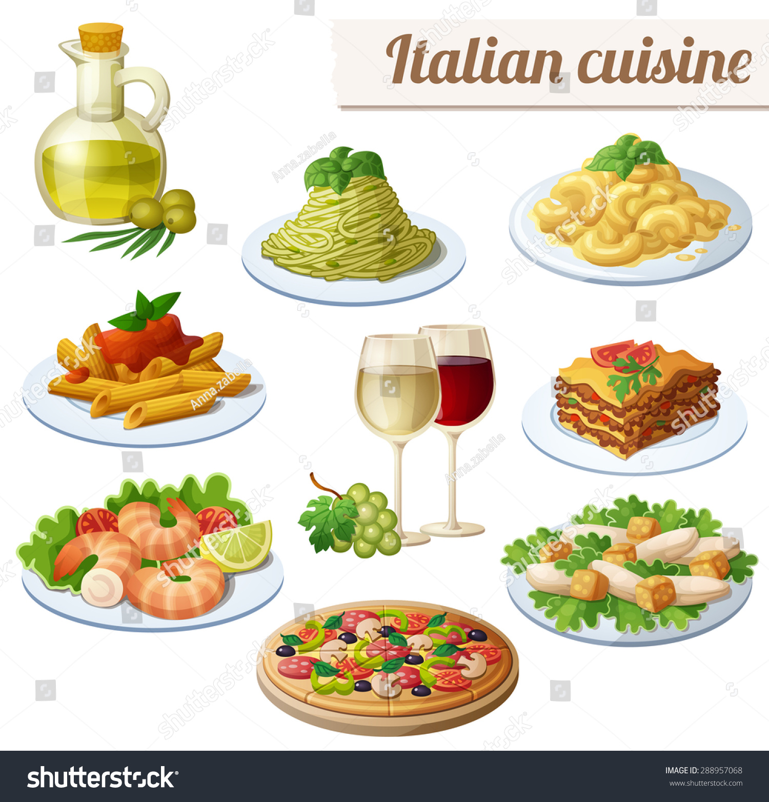 Set food icons isolated on white stock vector 288957068 for Italian cuisine