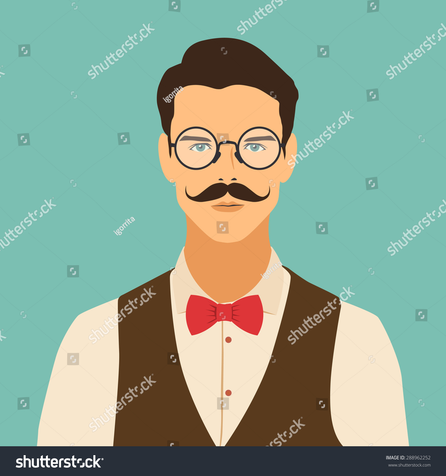 Flat Hipster Character Stylish Young Guy Stock Vector ...