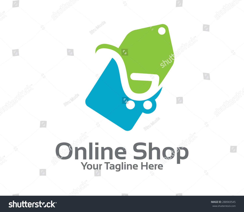 Online Store Logo Design Vector Shopping Stock Vector Royalty Free