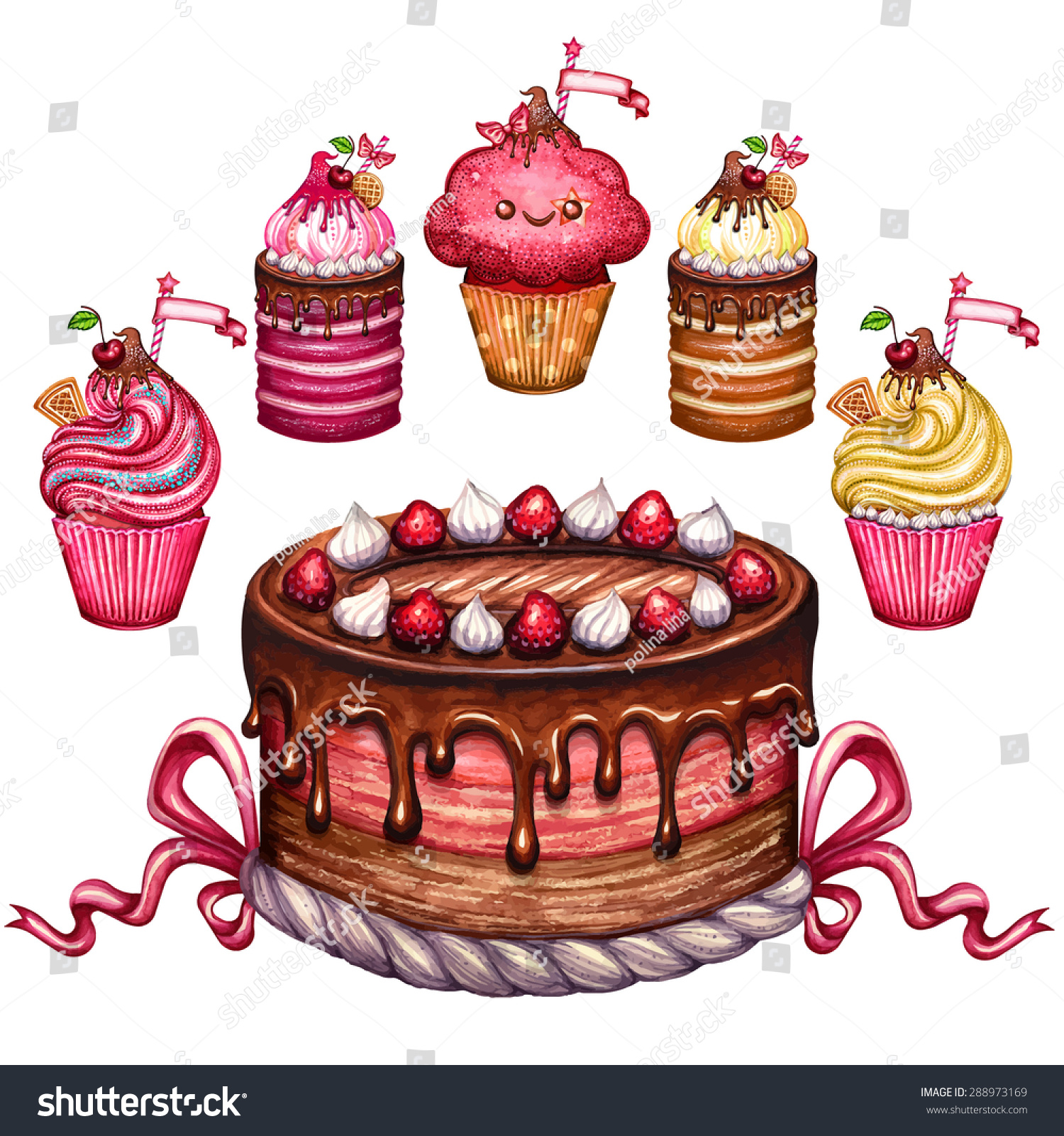 Vintage Cake Collectionvectorized Watercolor Drawingposter ...