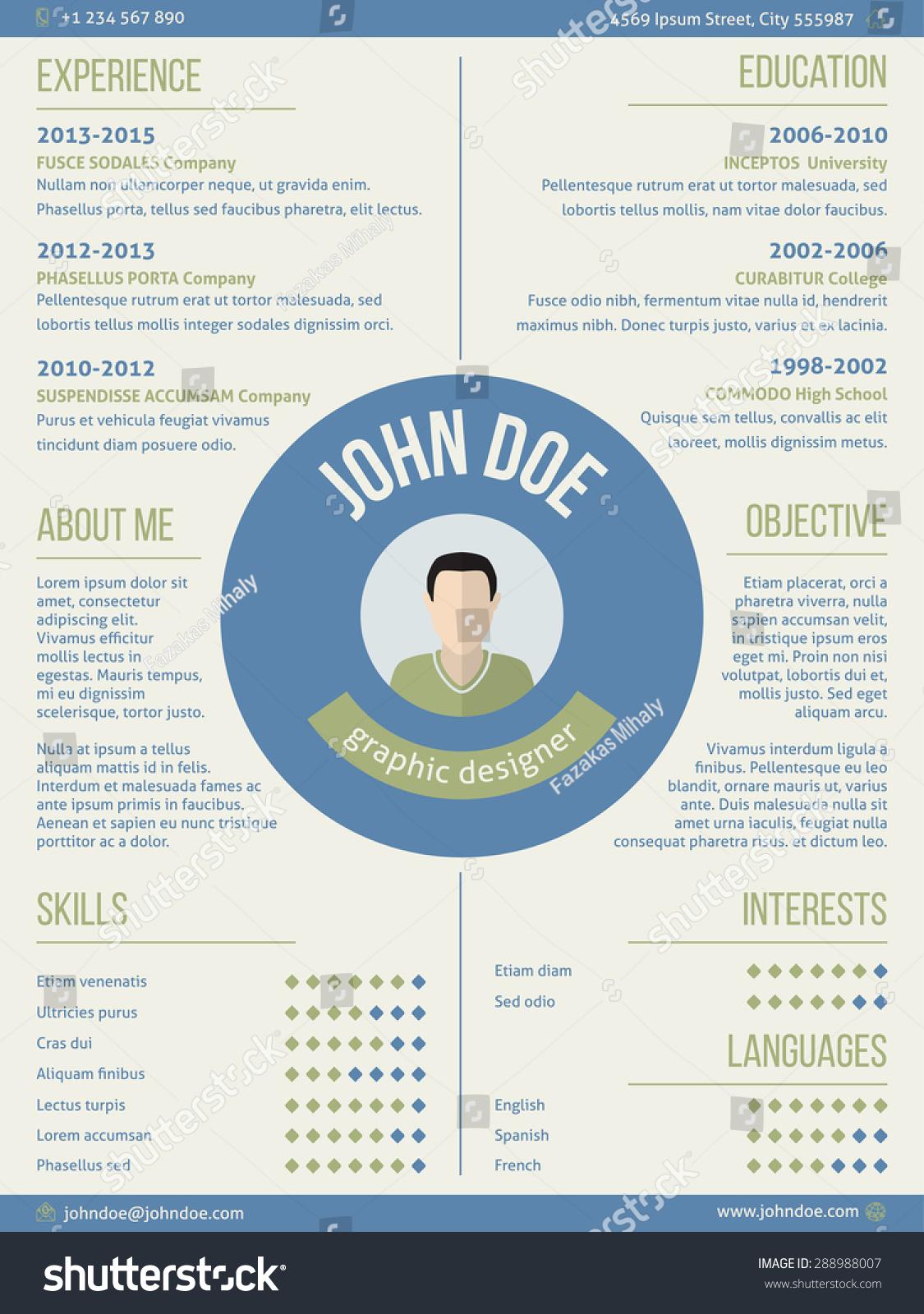 Modern Resume Curriculum Vitae Cv Design Vector de stock (libre de ...