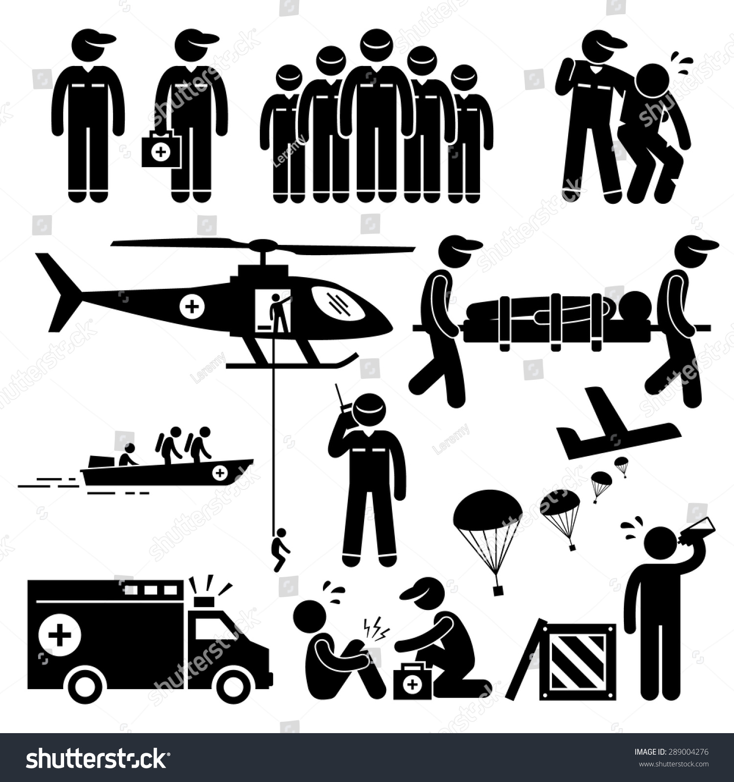 Emergency Rescue Team Stick Figure Pictogram Stock Vector ...