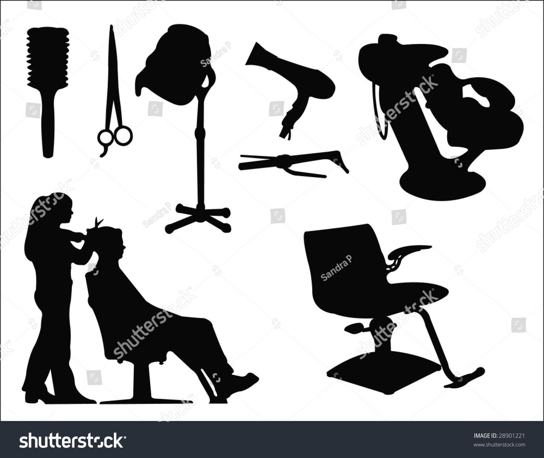 Hairdressing Salon Supplies Silhouette Stock Vector ...
