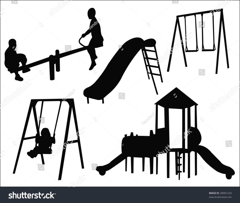 Kids Playground Silhouette Stock Vector 28901224