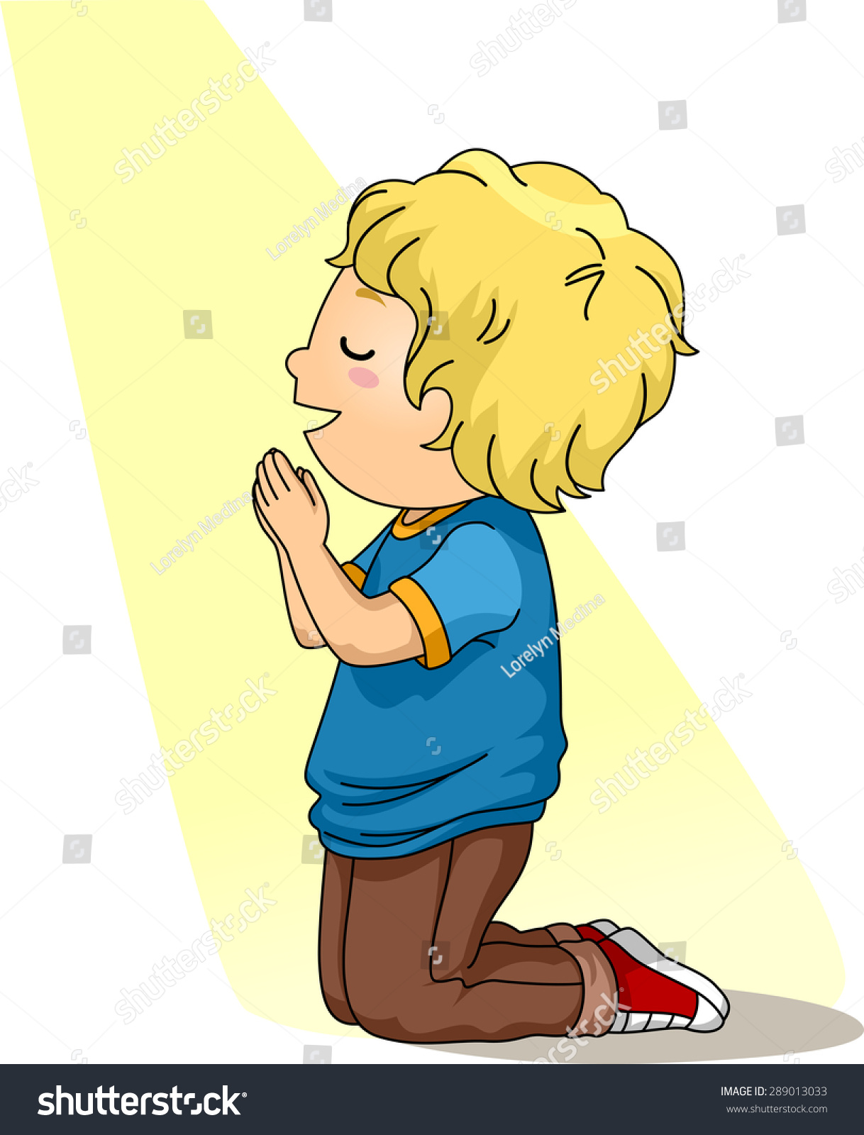 Illustration Little Boy Kneeling Down Prayer Stock Vector ...