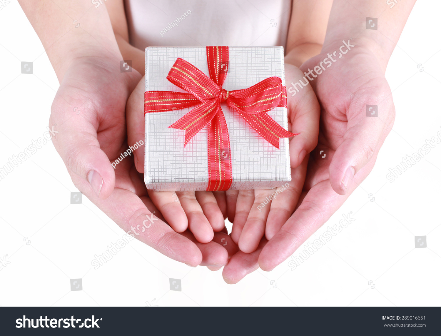 Hands Holding Beautiful Gift Box Adult Stock Photo ...