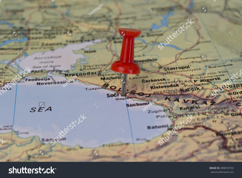 Sochi Marked Red Pushpin On Map Stock Photo Shutterstock - Sochi map