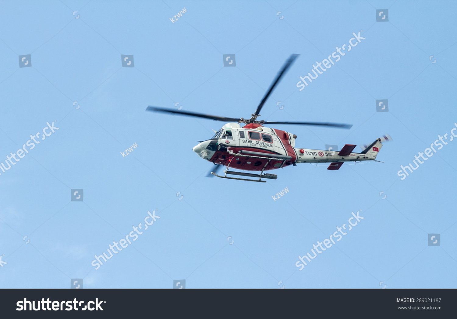 ANTALYA TURKEY June 7 2015 Coast Guard Helicopter during parliamentary elections in Turkey June 7 2015