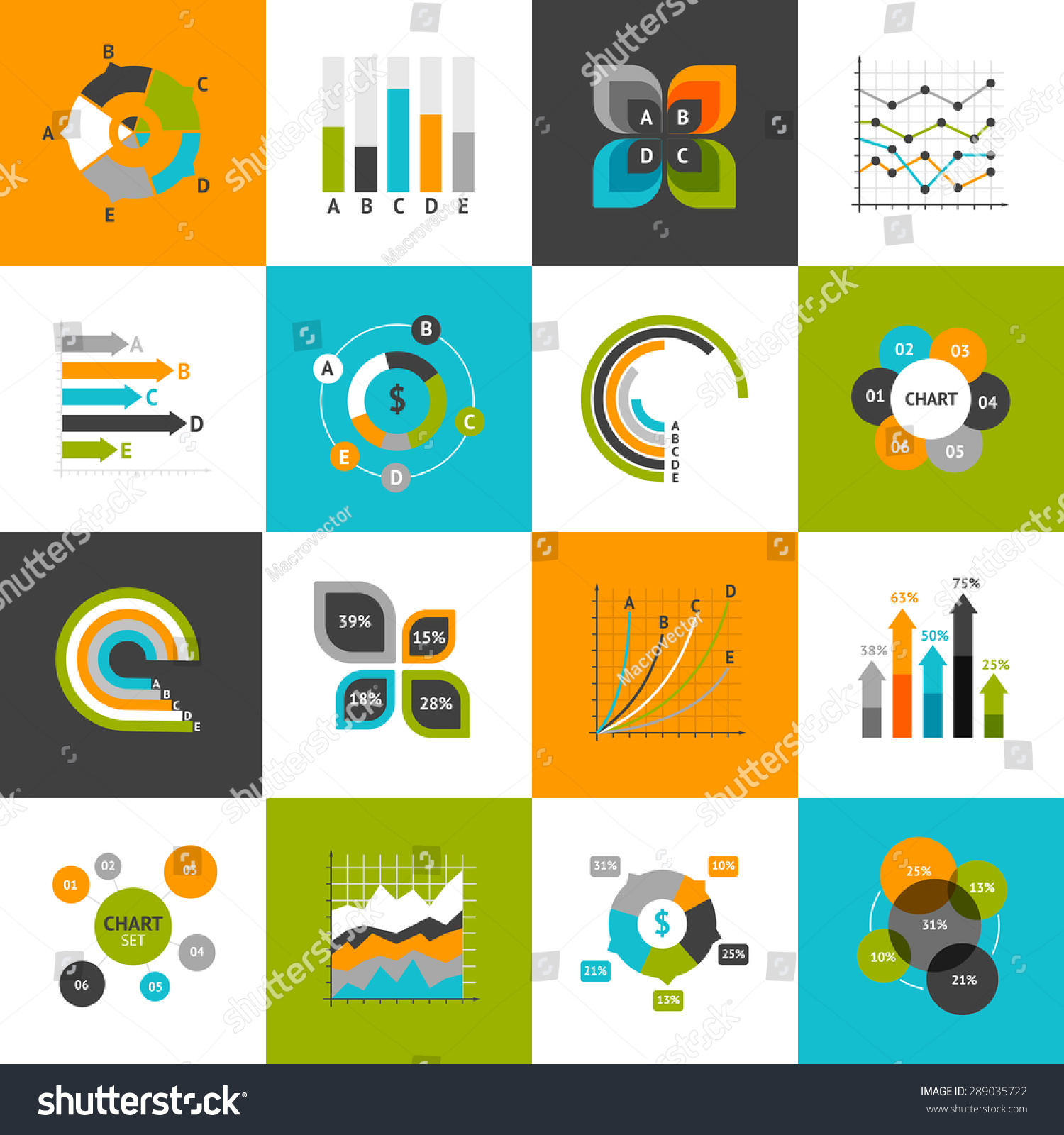 different types business charts infographs icons stock vector different types of business charts and infographs icons set isolated vector illustration