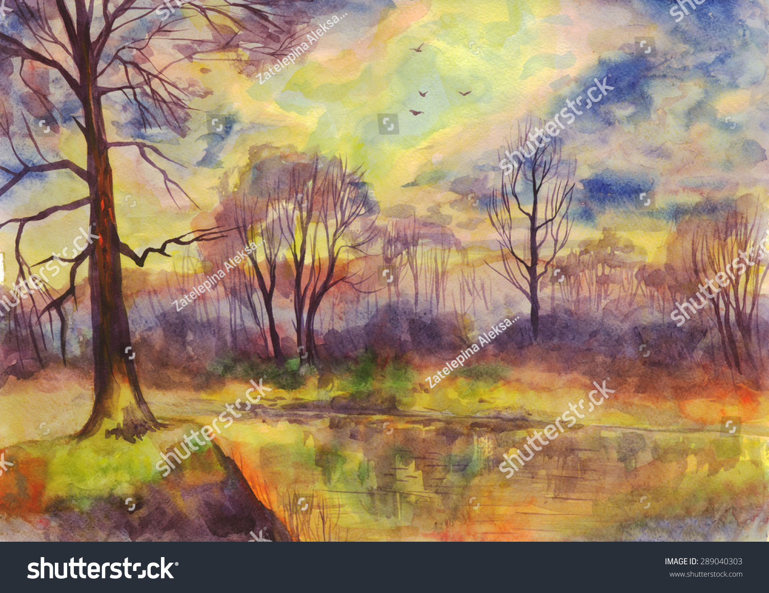 Spring Landscape Sunset On The River Painting Watercolor