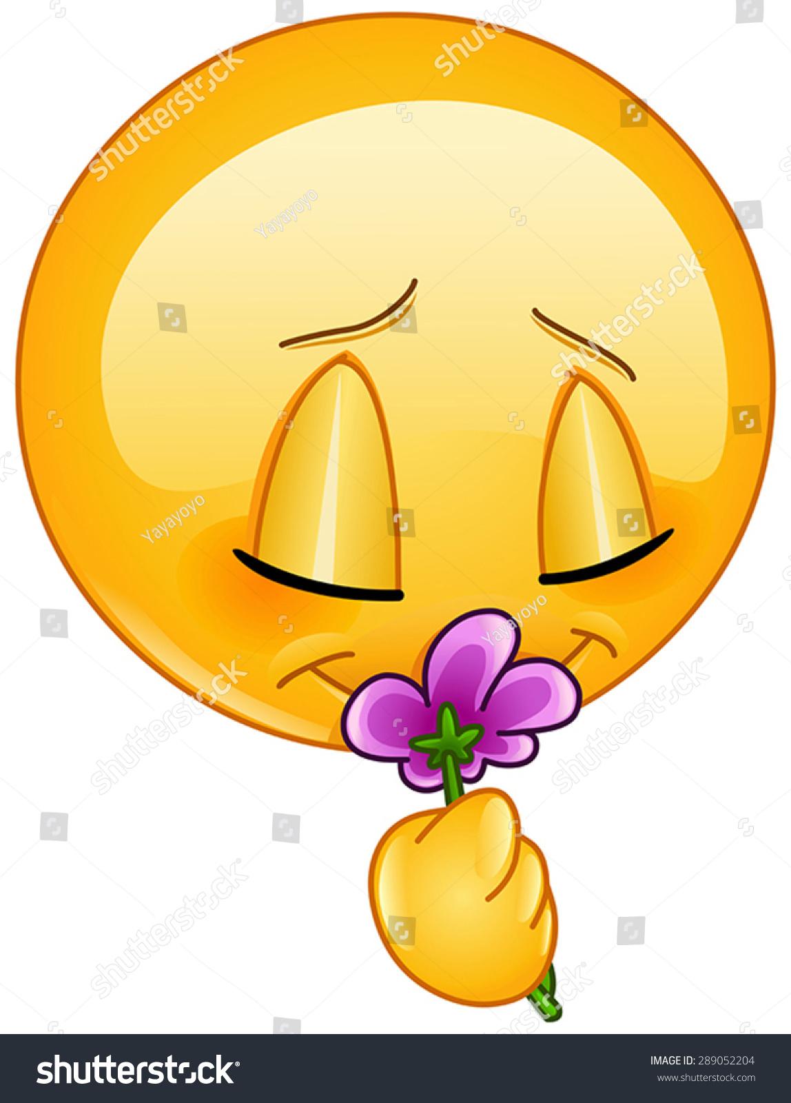 Emoticon Smelling A Flower Stock Vector Illustration Shutterstock