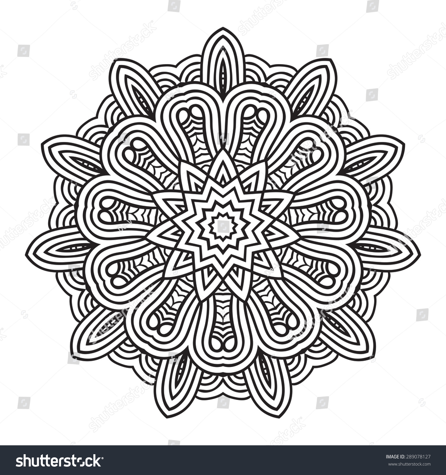 ethnic fractal mandala vector circle meditation stock vector