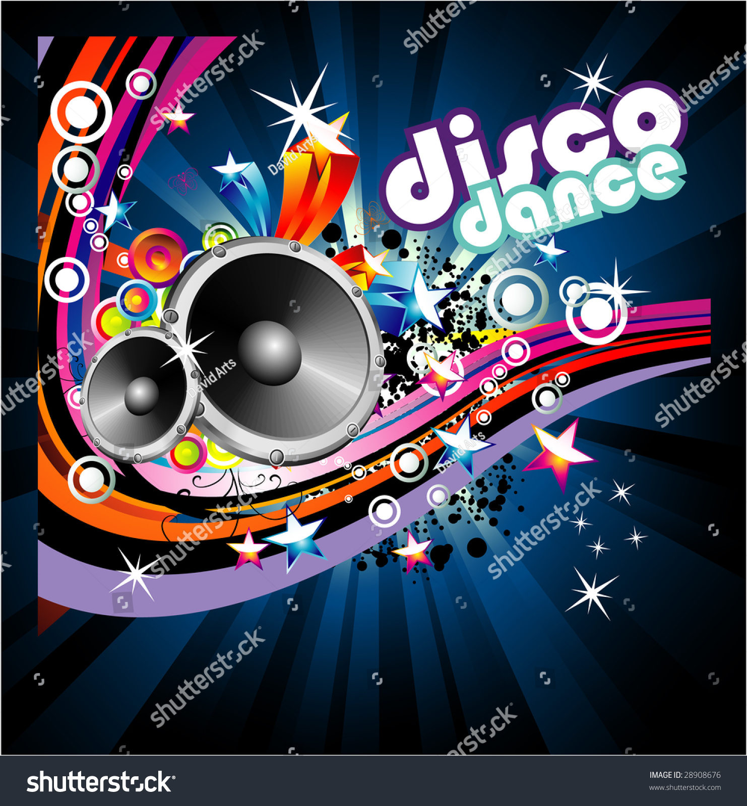 Disco Dance Music Colorful Background Stock Illustration ...