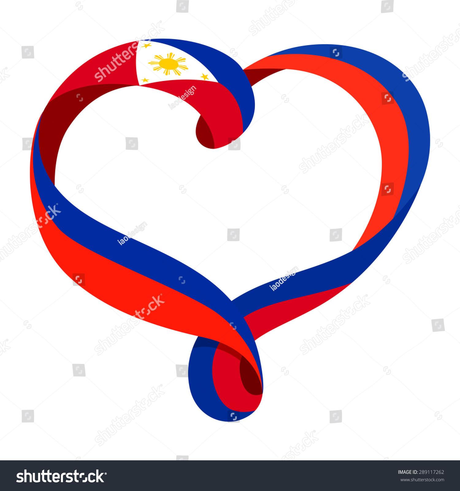 Philippines flag ribbonshaped heart symbol love stock vector philippines flag ribbon shaped heart symbol of love and harmony vector illustration buycottarizona Images