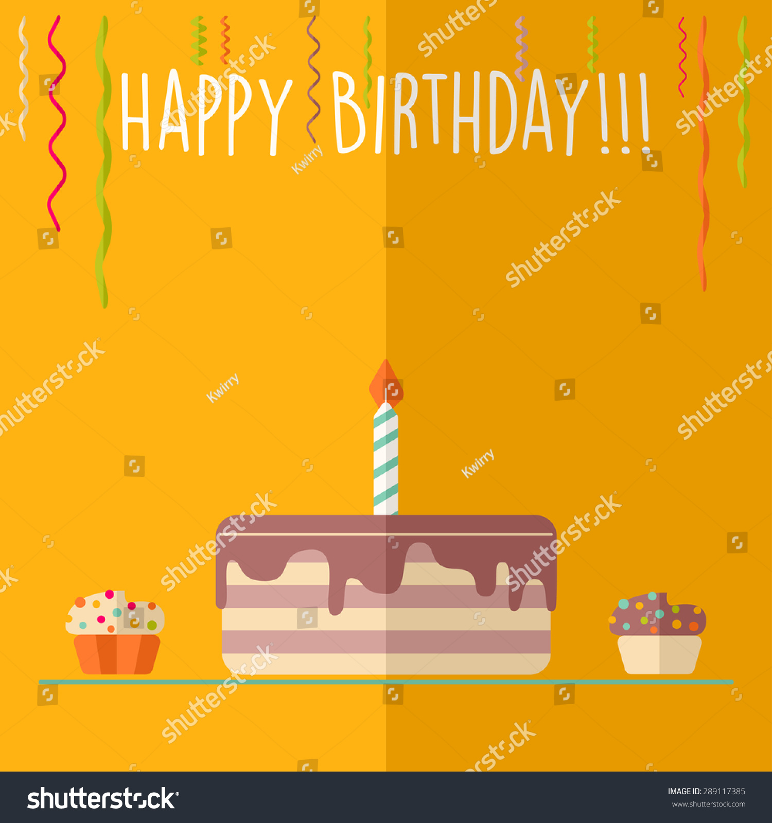 stock-vector-vector-happy-birthday-card-flat-colorful-design-cake-with ...