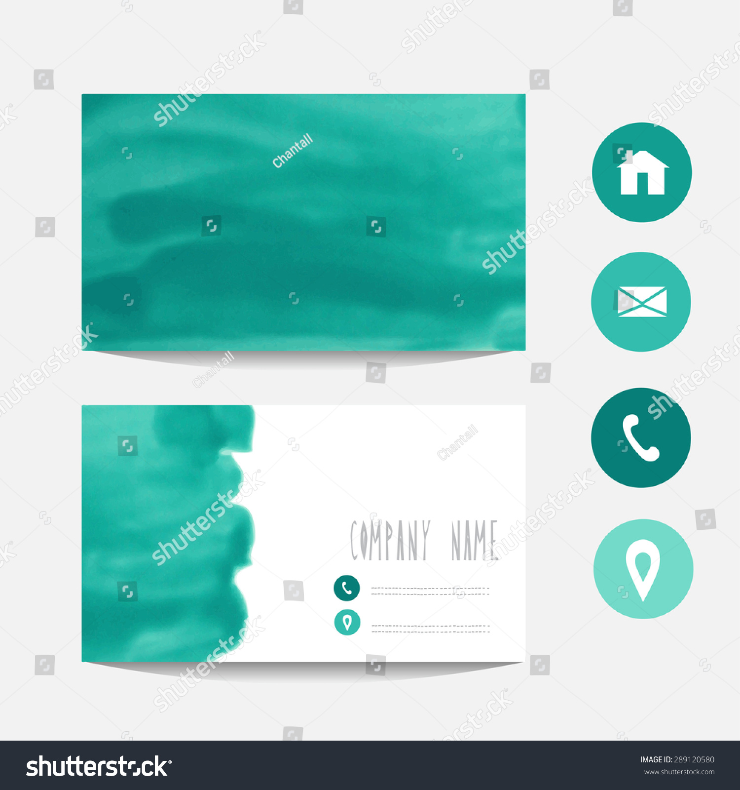 Oil Painted Business Card Template Mint Stock Vector Royalty Free
