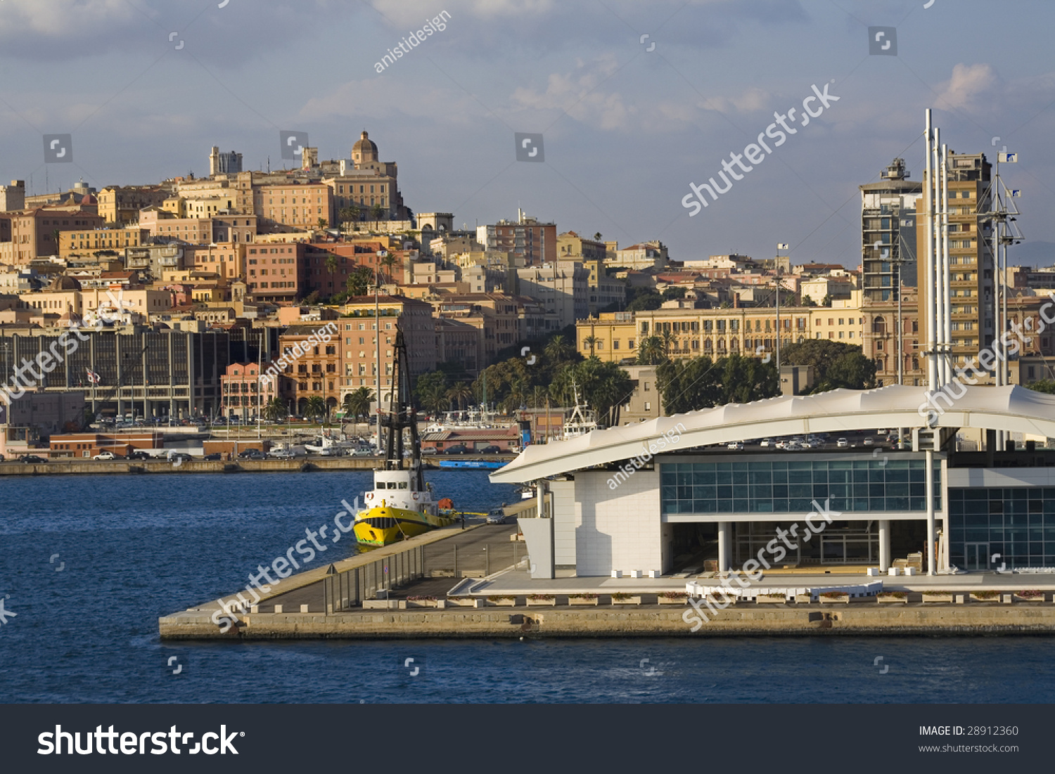 View Of The Port Of Cagliari In The Background The Castle ...