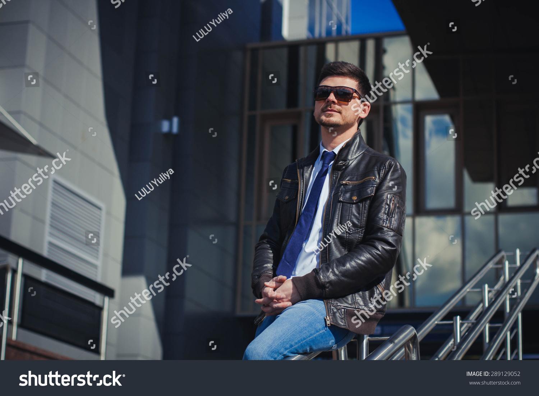 Portrait Elegantly Dressed Man Leather Jacket Stock Photo Edit Now